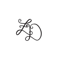 Handwritten monogram zd icon vector