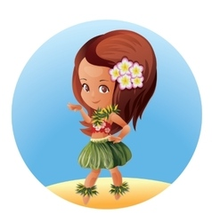 Hula dancer Hawaiian cartoon character vector image