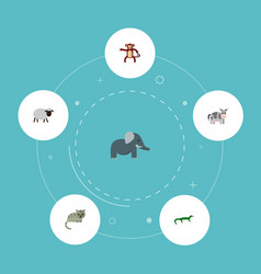icons flat style cat sheep monkey and other vector image