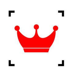 King crown sign red icon inside black vector