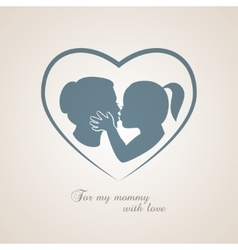 Little girl kissing her mom on Mothers Day vector image vector image
