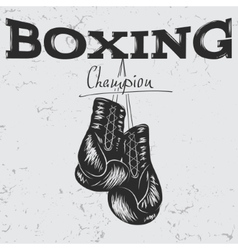 Old label with boxing gloves vector