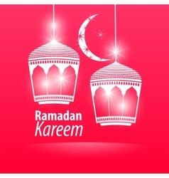 Pink flat simple ramadan kareem vector
