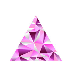 Pink sapphire low poly triangle shape background vector