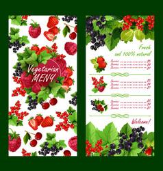 Price list for fresh garden berries market vector