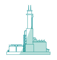Refinery plant silhouette vector