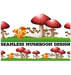 Seamless background with mushrooms on the lawn vector image