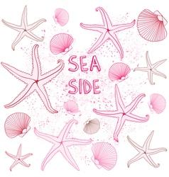 Seaside seashells background vector