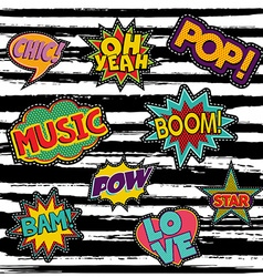 Set of retro pop art sticker or patch designs vector image
