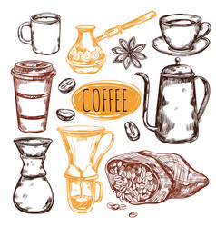 sketch coffee icon set vector image