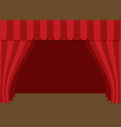 stage curtains with brown wooden floor vector image