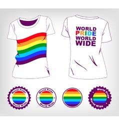 t-shirt with rainbow flag vector image