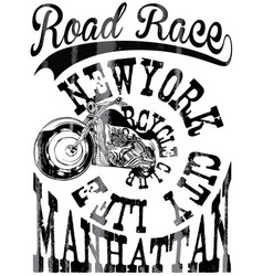 vintage motorcycle hand drawn tee graphic design vector image