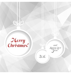 Xmas balls on triangle background vector image