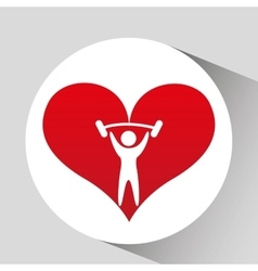 Athlete silhouette lift barbell heart vector