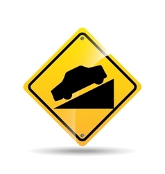 Road sign steep decline icon vector