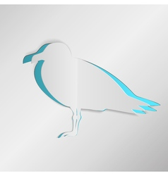 Paper seagull greeting card vector