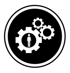 Circular shape with silhouette gear wheel icon and vector