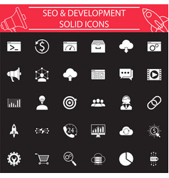 seo and development solid icon set vector image