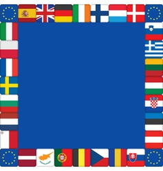 European Union flags icons frame vector image