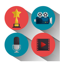 Cinema entertainment elements icons vector