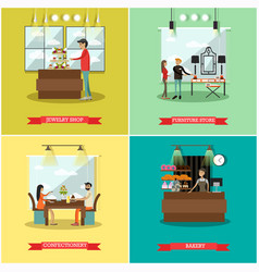 set of shops square posters in flat style vector image