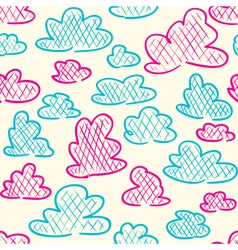 Hand drawn clouds seamless pattern background vector