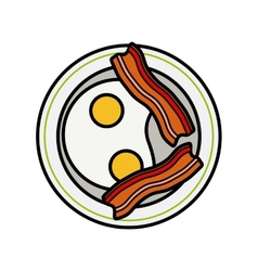 Eggs and bacon four delicious fried eggs and vector