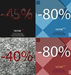 80 40 icon set of percent discount on abstract vector