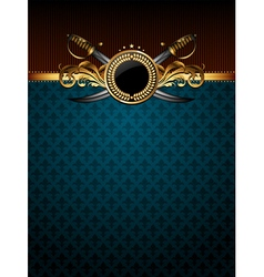 Ornate golden frame with sabers vector