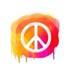 Peace sign on watercolor splatter hippie vector