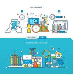 Analysis and market research time management vector