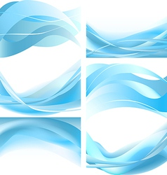 Blue easy waves isolated set on white background vector