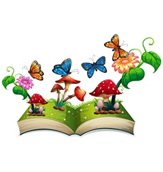 Book of butterflies and mushrooms vector image