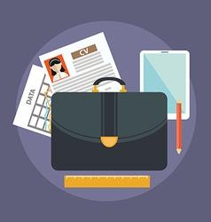 Business suitcase with paperwork portfolio concept vector