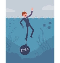 Businessman drowning chained with a weight stress vector