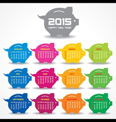 Calendar of 2015 with piggy bank concept design vector image vector image