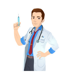 caucasian doctor holding medical injection syringe vector image