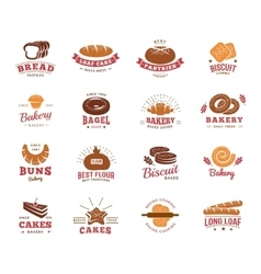 Colorful label set of bakery goods vector
