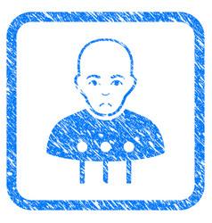 cyborg interface framed stamp vector image