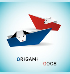 Dogs in boats origami vector image
