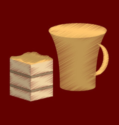 Flat shading style icon cup of coffee and pie vector