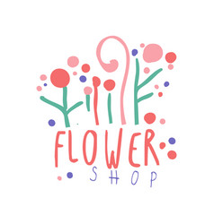 Flower shop logo template hand drawn vector