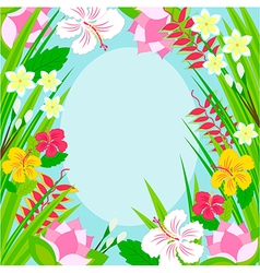 Frame of tropical flowers vector