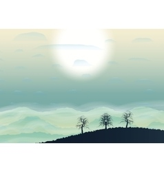 Hills shiluette with fog and sun vector
