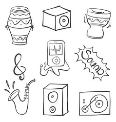 Musical instrument doodle vector