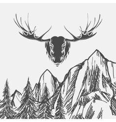 Nature background with forest and elk vector image vector image