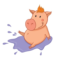 Pig in puddle vector