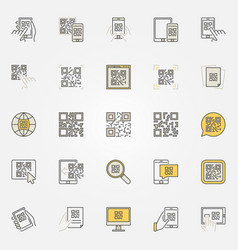 qr code colorful icons set - code scanning vector image vector image