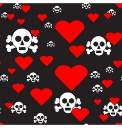 Sculls and hearts on black seamless pattern vector
